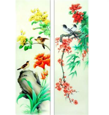 彩绘花鸟屏风玻璃