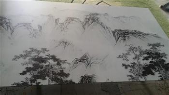 山水画玻璃